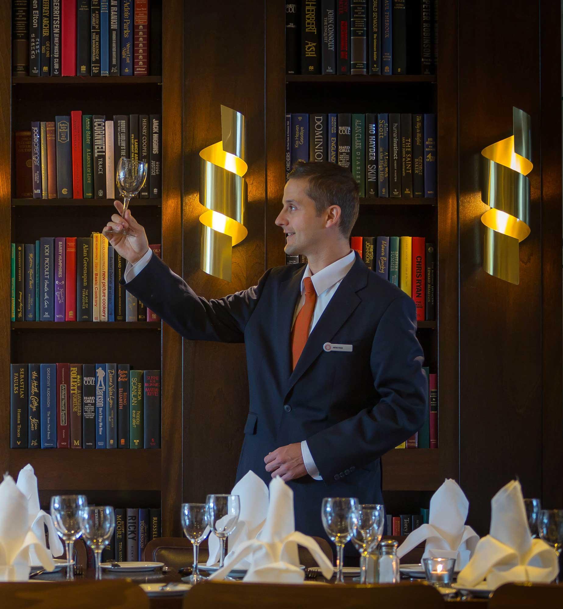waiter-setting-Brasserie-restaurant-dinner-Clayton-Hotel-Dublin-Airport